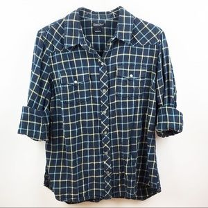 Lucky Brand Plaid Flannel Button Down Navy L